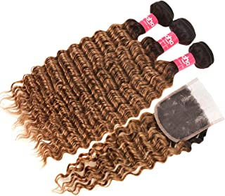Haha Ombre Bundles with Closure Ombre Brazilian Deep Wave Curly Hair 3 Bundles with Closure 2 Tone Black to Brown Virgin Human Hair Weave Bundles with Lace Closure T1B/30, 16 18 20+14