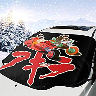 ENXIANGXIJ Akira Capsule Gang Car Windshield Snow Cover, Ice Removal Sun Shade, Fit for Universal Cars (58'' X47'')