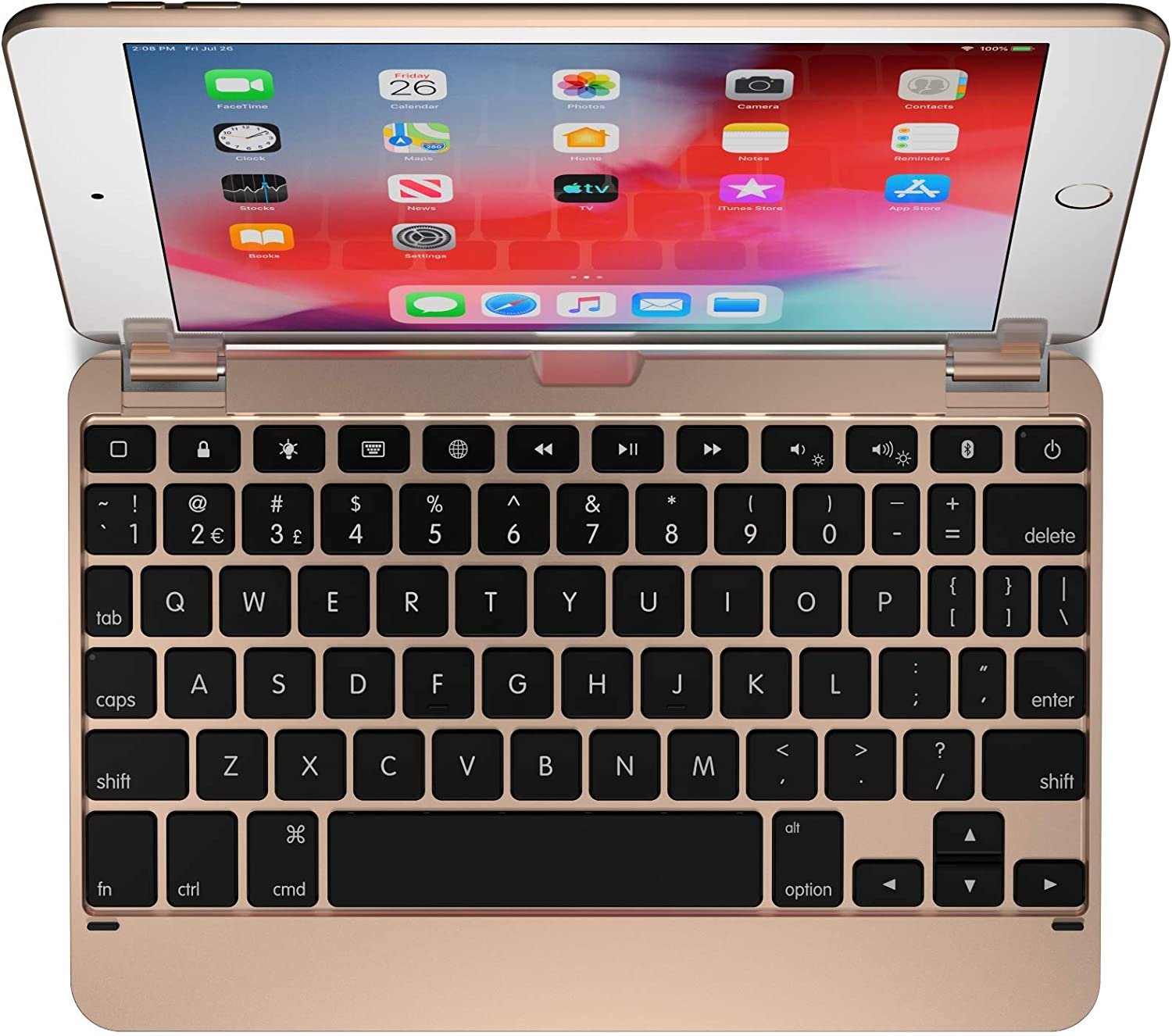 Brydge 7.9 Keyboard for iPad Mini (5th Generation) and iPad Mini (4th Generation)   Aluminum   Bluetooth   Rotating Hinges (Gold)