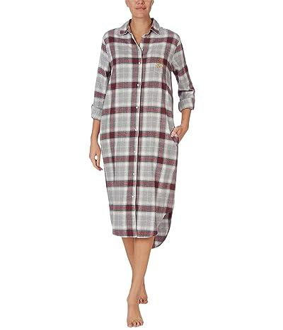 LAUREN Ralph Lauren Brushed Twill Long Sleeve Notch Collar Ballet Sleepshirt (Grey Plaid) Women