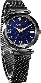 Fashion Women's Starry Sky Watch Quartz Magnetic Buckle Stainless Steel Waterproof Ladies Watches Black Mesh Bracelet