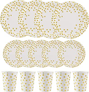 ALINK 150PCS Gold and White Disposable Paper Plates Cups Set, 50 Dinner Plates, 50 Salad/Dessert Plates, 50 9 oz Cups for Birthday Party, Wedding, Thanksgiving, Christmas, Bridal/Baby Shower Holiday