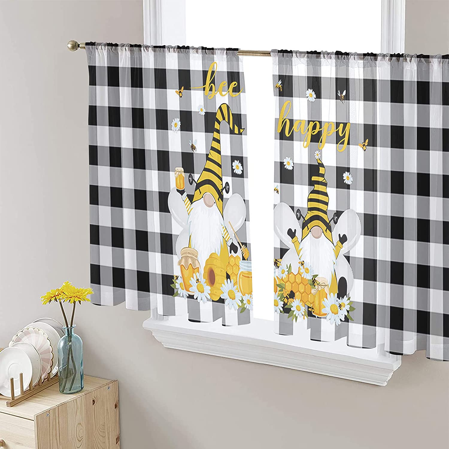 2 Panels Sheer Voile Rod Pocket Gnome Curtain Bombing New sales new work Yellow Bee Honey B