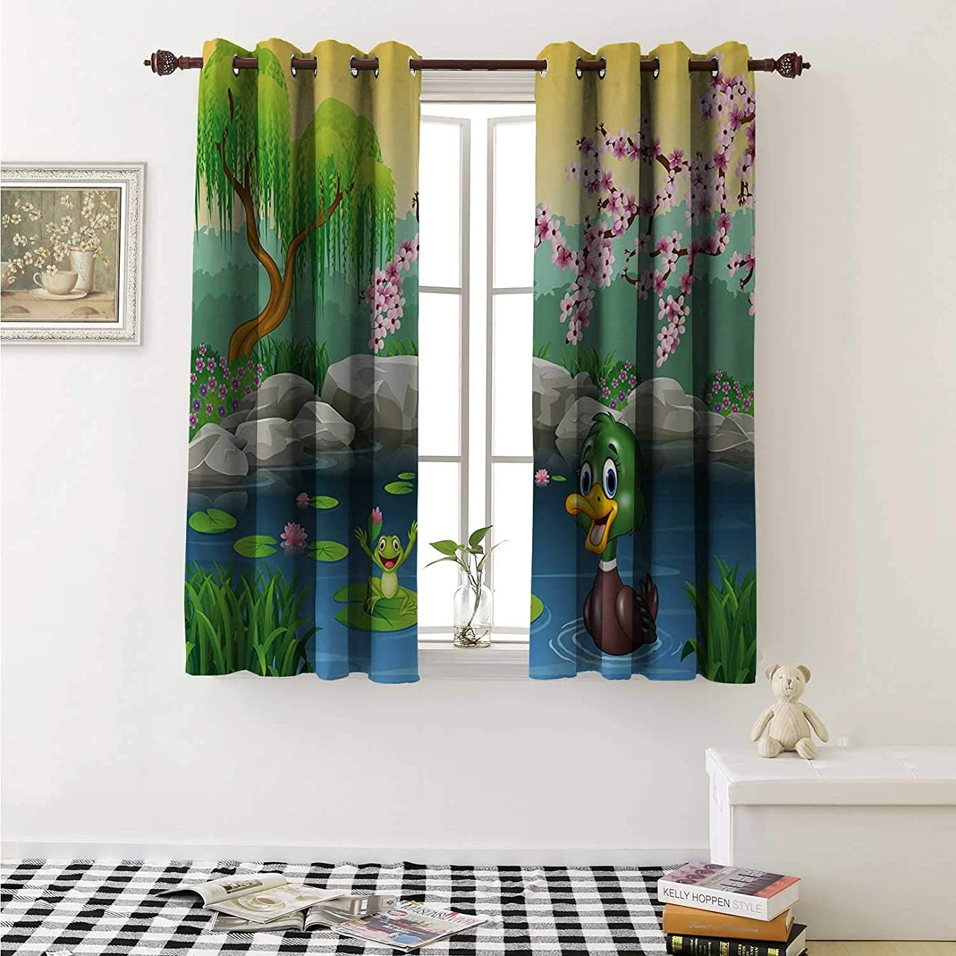 Cartoon Blackout Draperies for Bedroom Vector Cute Ducks Frogs in a Lake Pond Trees Image Kids Nursery Design Artwork Curtains Kitchen Valance W72 x L63 Inch Multicolor