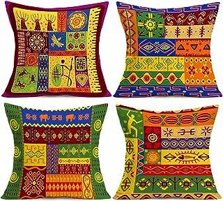 "YANGYULU African Pattern Cotton Linen Home Decorative Throw Pillow Case Sofa Cushion Cover 18"" x 18"", Cotton Linen, Africa..."