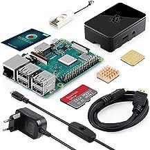 ABOX Raspberry Pi 3 B+ Starter Kit con 5.1V 3A Adaptador de Corriente con Interruptor, Micro SD de 32GB Clase 10, 2 Radiadores, Cable HDMI, Lector de Tarjetas y Caja Negra