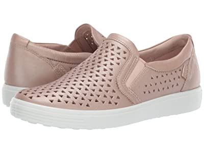ECCO Soft 7 Laser Cut Slip-On (Champagne Metallic Cow Leather) Women