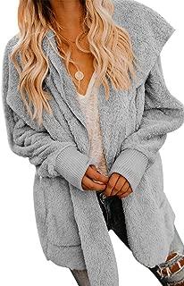 Womens Open Front Loose Hooded Fleece Sherpa Jacket Cardigan Coat for Winter