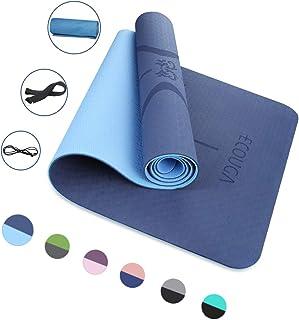 ECOUGA Colchoneta de Yoga Antideslizante con Línea Corporal