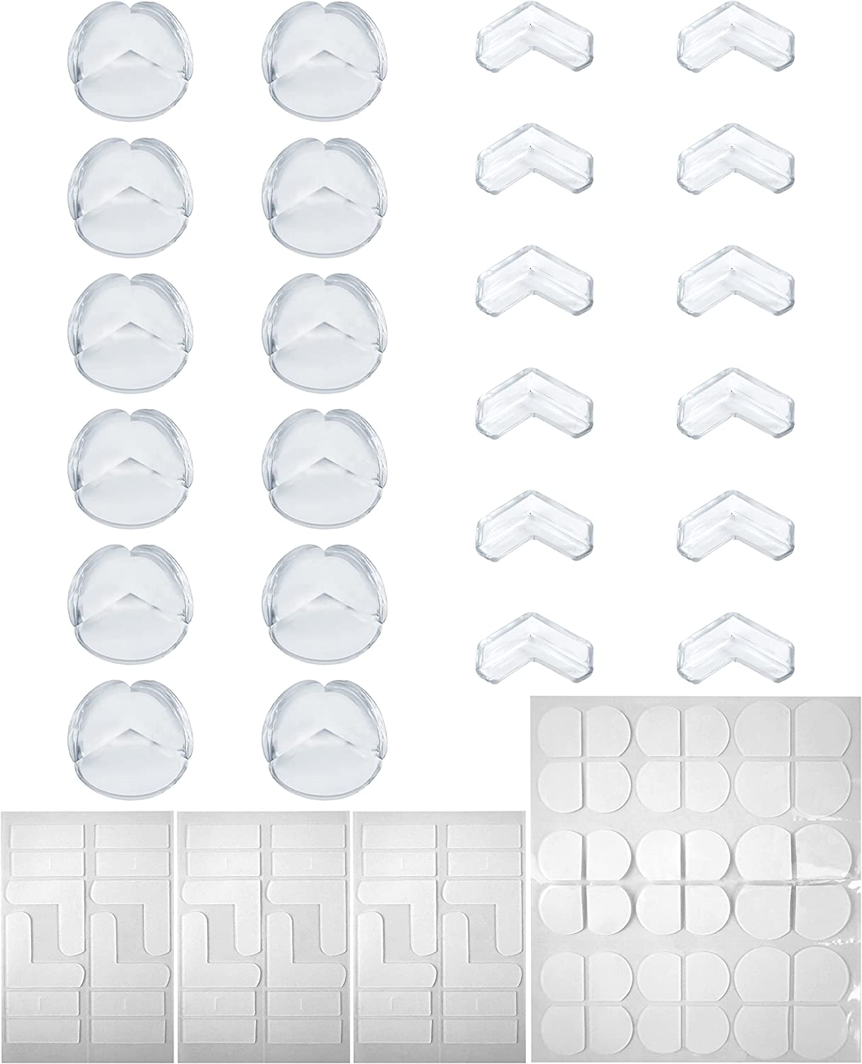 Table Corner Protector Baby Safety, 24 Pcs, Includes 12 Pcs Thickened L-Shaped Baby Proofing Corner Guards and 12 Pcs Spherical Corner Bumpers for Furniture