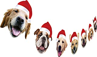 Christmas Dog Garland, Dog Face Christmas Party Hanging Decorations, Xmas Gift for Dog Lover