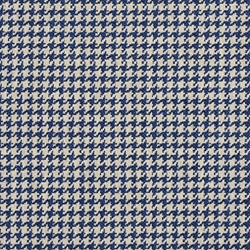 E853 Blue and Off-White Classic Houndstooth Jacquard Upholstery Fabric by The Yard