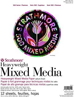 "Strathmore (584-11) 500 Series Heavyweight Mixed Media, 11""x14"", White, 12 Sheets"