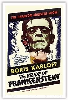 The Bride of Frankenstein - Starring Boris Karloff and Elsa Lanchester - The Monster Talks! - Vintage Film Movie Poster c.1953 - Master Art Print - 12in x 18in