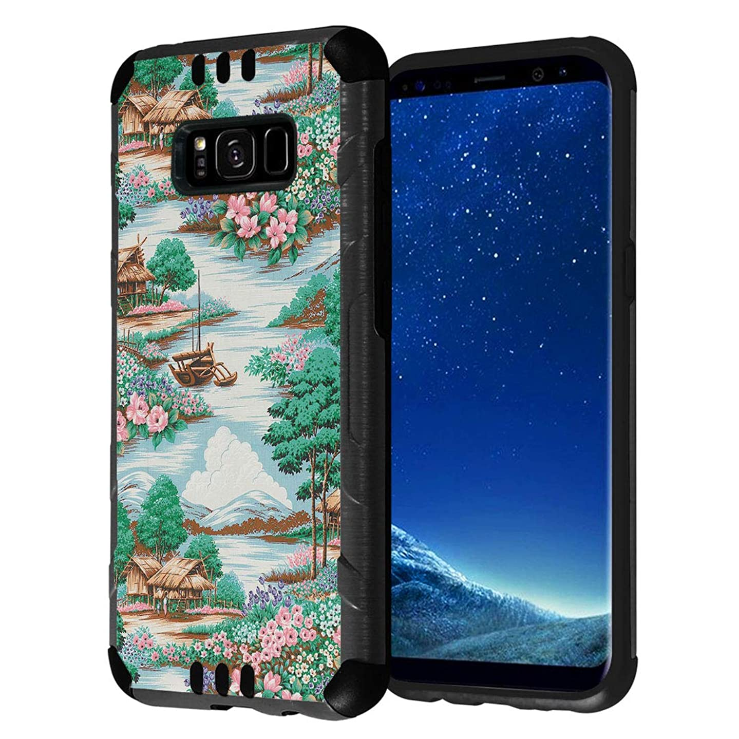 Capsule Case Compatible with Galaxy S8 [Hybrid Fusion Dual Layer Slick Armor Cushion Case Black] for Samsung Galaxy S8 SM-G950 SPHG950 - (Bamboo Lodge)
