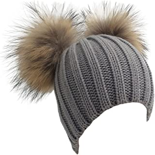 Women's Crystal Knitted Raccoon Fur Double Pom Beanie Hat Ski Cap