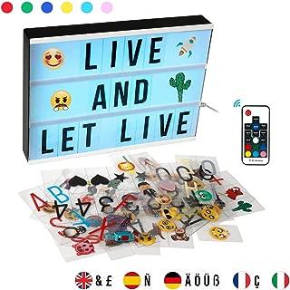 EXTSUD Light Box Caja de Luz A4 con Control Remoto con 352 Emojis y Símbolos, Ideal para Decorar Hogar, Habitación, Boda, Regalo para Navidad, Cumpleaños