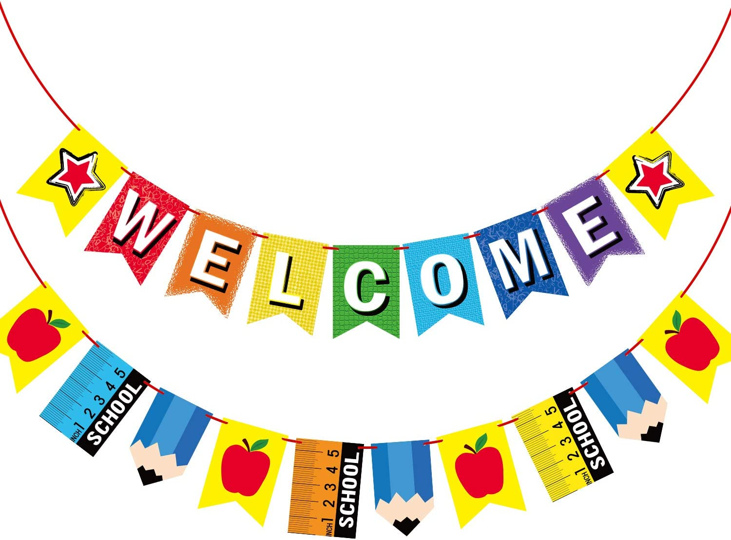 Amazon.com: Welcome Banner for Party Supplies First Day of School Banner  School Theme Party Decorations for Students and Teachers : Home & Kitchen