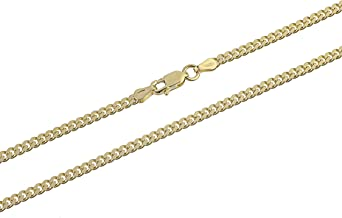 Kezef Creations 3mm Miami Cuban Link Chain in 18K Gold Plated Sterling Silver, Rose Gold Plated Sterling Silver & 925 Sterling Silver Bracelets and Necklaces 7-36 Inches