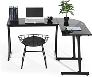 92f8dc7a25e GreenForest Office Desk L Shape Corner Tempered Glass Computer PC Laptop  Table Workstation Home Office 3