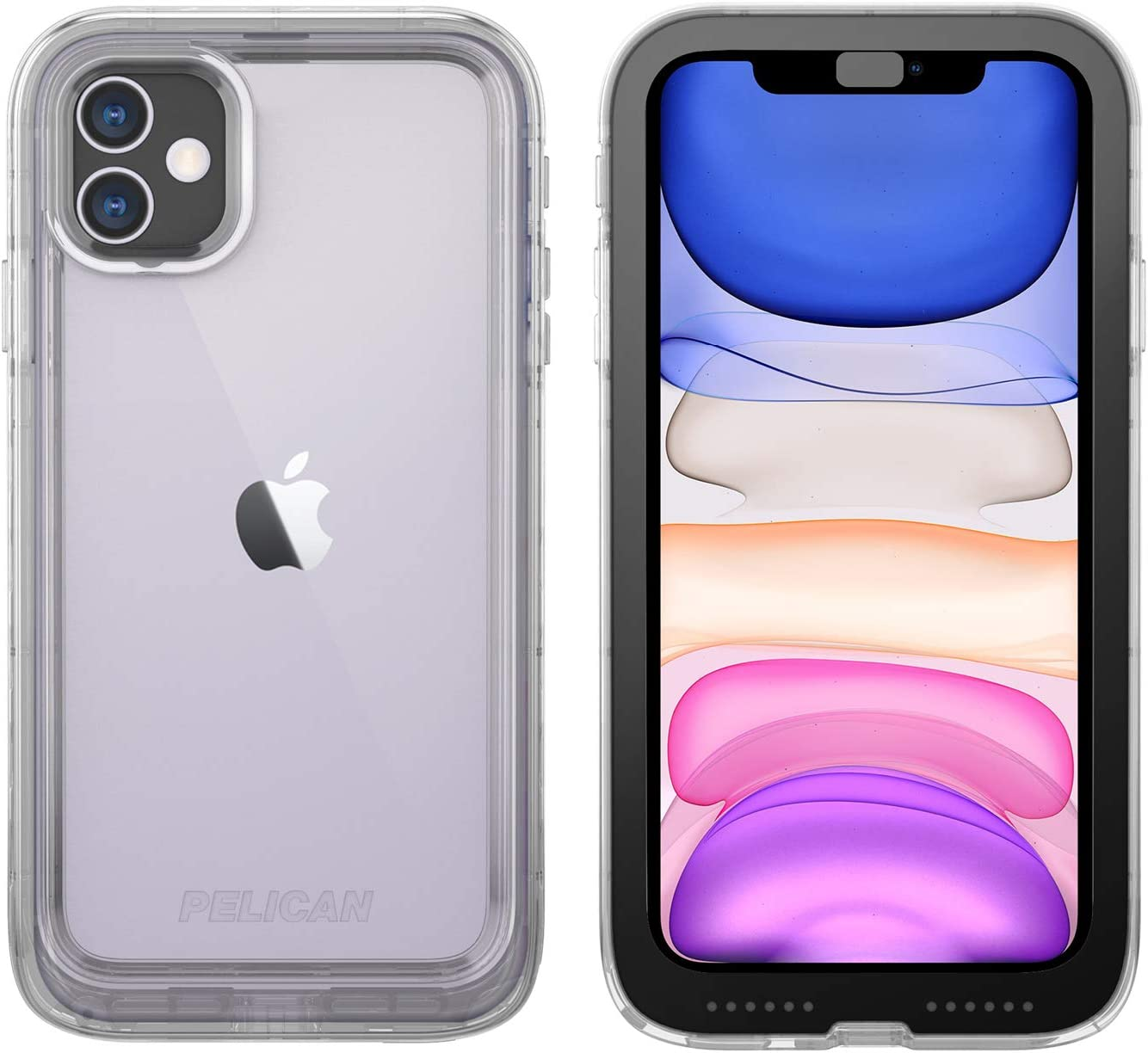 Pelican iPhone 11 Case, Marine Case - Military Grade Drop Tested – TPU, Polycarbonate, Liquid Silicon Protective Case for Apple iPhone 11 (Clear), C56040-001A-CLBC