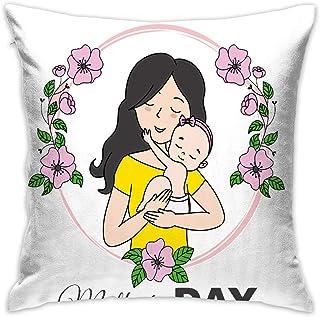 AOOEDM Happy Mothers Day Mother Hugs Baby Wreath Funda de Almohada Individual Decorativa Personalizada de algodón Cuadrado sin núcleo de Almohada Adecuado para 18 x 18 Pulgadas