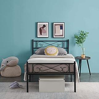 N / A Lit en métal de 3ft Table de Chevet à Lattes Cloud Deco avec sommier à Lattes avec Grand Compartiment de Rangement L...