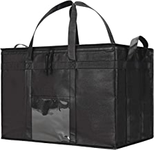 NZ Home Food Delivery Bag | Ideal for Uber Eats, Instacart, Doordash, Grubhub, Postmates, Restaurant, Catering, Grocery Transport | Dual Zipper | Black … (XXXL Premium Black, 1)