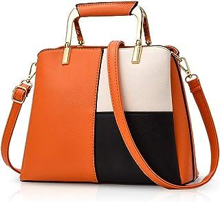 YHLZ Crossbody bag-Women Color Simple Handbags Shoulder Bag Crossbody Messenger Bag Tote Satchel for Lady PU Leather(Size:26 * 11 * 20cm) (Color : Orange)