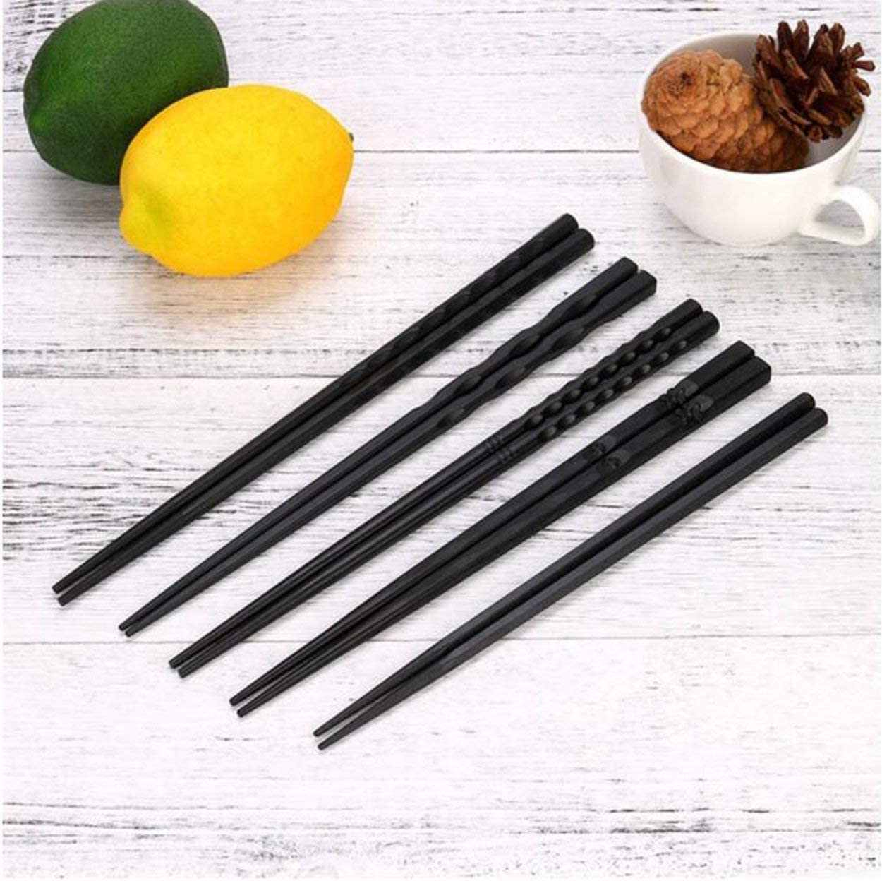 Lorenlli 1 Pair Japanese Chopsticks Alloy Non-Slip Wood Color Sushi Chop Sticks Set Chinese Gift Family Friends Colleagues Gifts