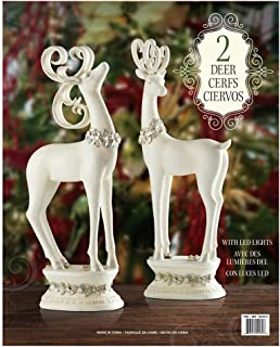 Costco Holiday Christmas 2x White Deer with LED Lights Operated by Batteries