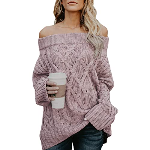 fb3df7e3ad Dearlovers Women s Oversized Off Shoulder Loose Knitted Casual Sweater  Pullovers