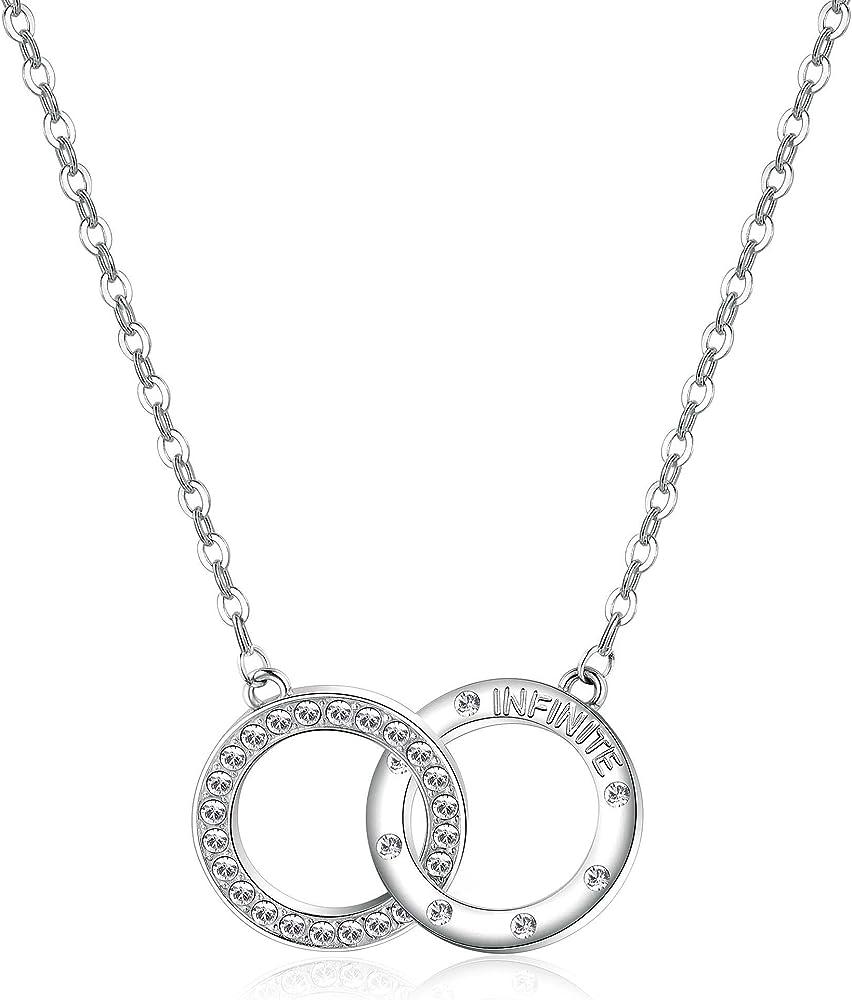 Brosway romeo & juliet,collana per donna,in acciaio e cristalli swarovski crystal 8053851026936