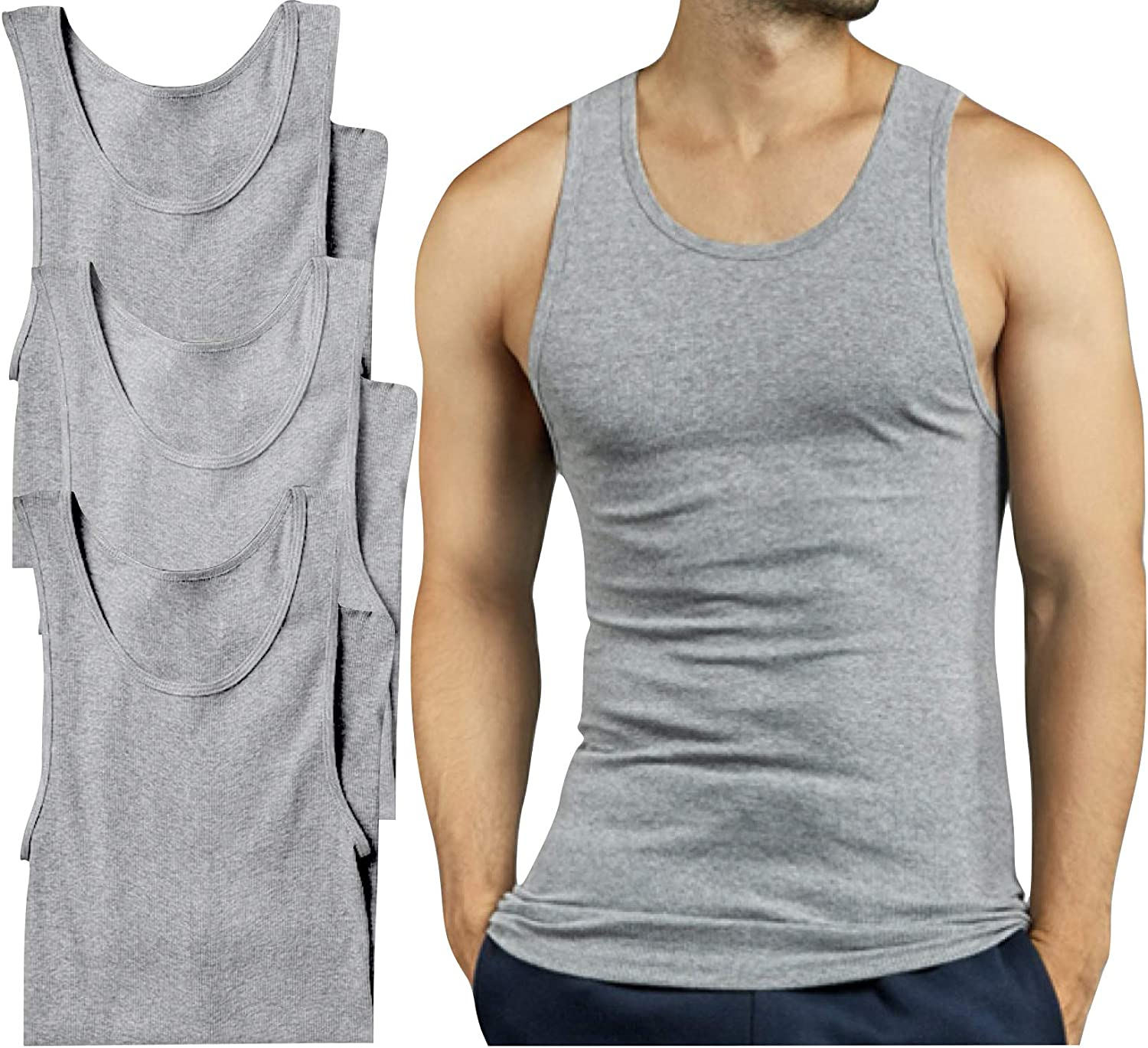 Sale SALE% OFF New item ToBeInStyle Men's Slim Fit Shallow Neck Scoop A-Shirt Sleeveless