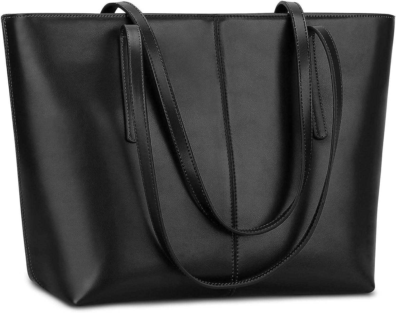 S-ZONE Damen einfach echtes Leder Henkeltasche elegant elegant elegant Handtasche Schultertasche (Matt-Schwarz) B071GKDJXR  Schön und charmant cfa576