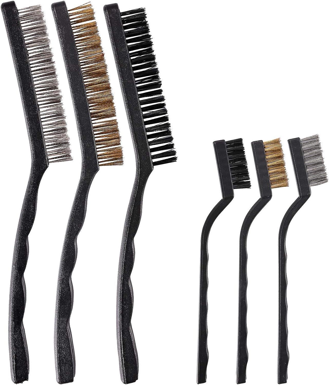 TILAX 6 Pcs Wire Washington Mall Brush Fees free!! Scrat Metal Set Curved Handle