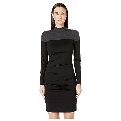 Nicole Miller Ponte Mock Neck Dress (Black/Charcoal) Women