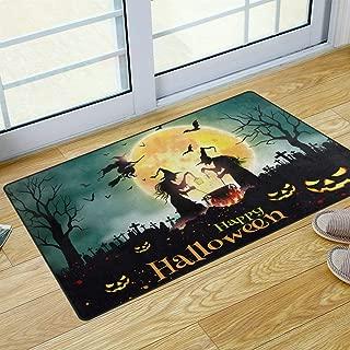 S Husky Halloween Pumpkin Entrance Door Mat Little Witch Lantern Broom Bats Dead Tree Gothic Duty Front Outdoor Rug, Non-Slip Lock Water Welcome Doormat for Entry, Patio 31 x 20 in 2042527
