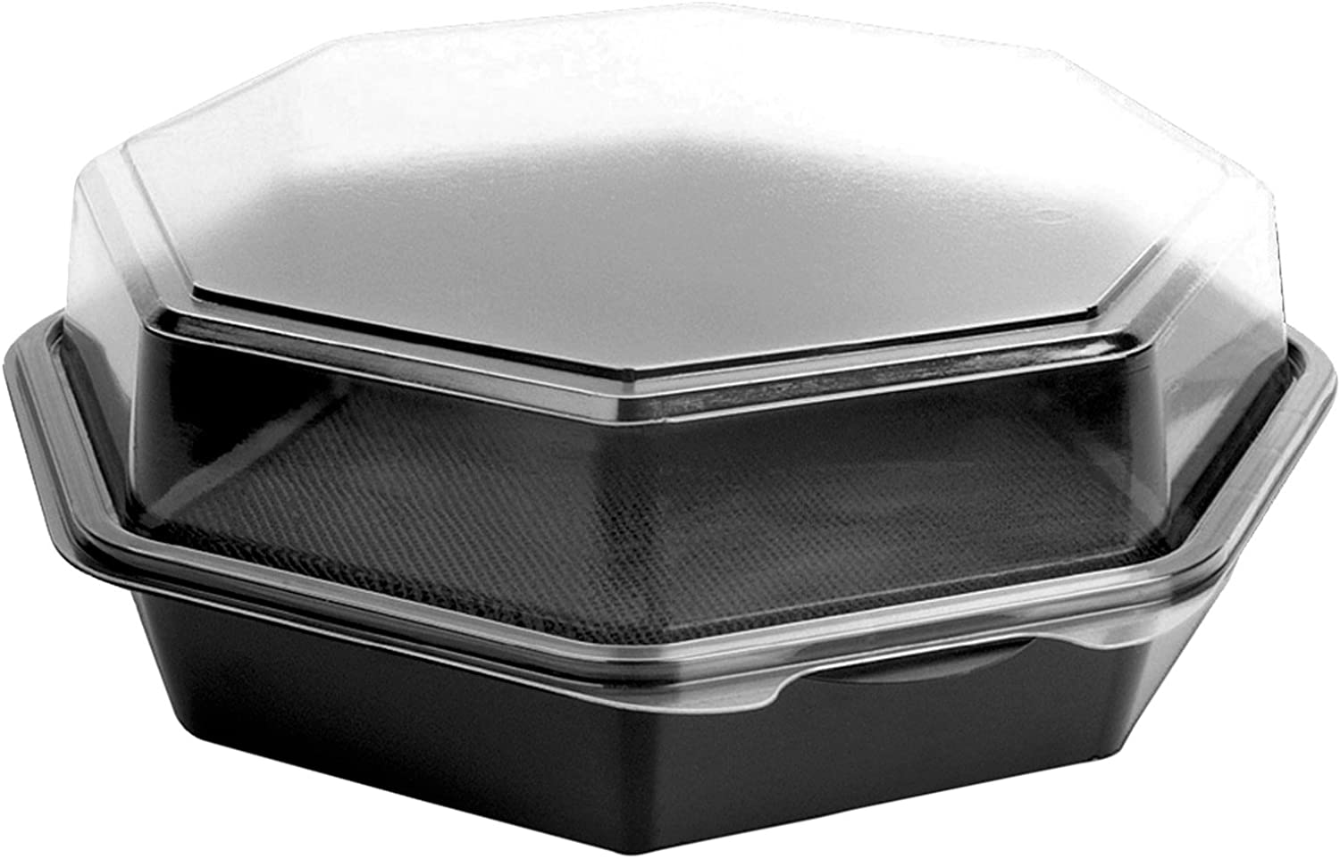 Solo 864056-AP94 9 in Black Clear PET Plastic Hinged Container, 9.57 X 9.18 in (Case of 100)