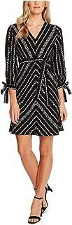 CECE Womens Black Tie Floral 3/4 Sleeve V Neck Short Fit + Flare Evening Dress AU Size:8