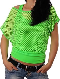 Freyday Damen Netzoberteil Sommertop Fasching Karneval Partytop in versch. Neon und Basic Farben 2 Größen
