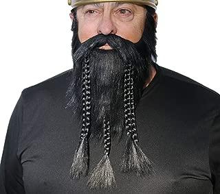 Fake Viking Beard, Realistic Dwarf Beard Self Adhesive False Costume Facial Hair with Braids