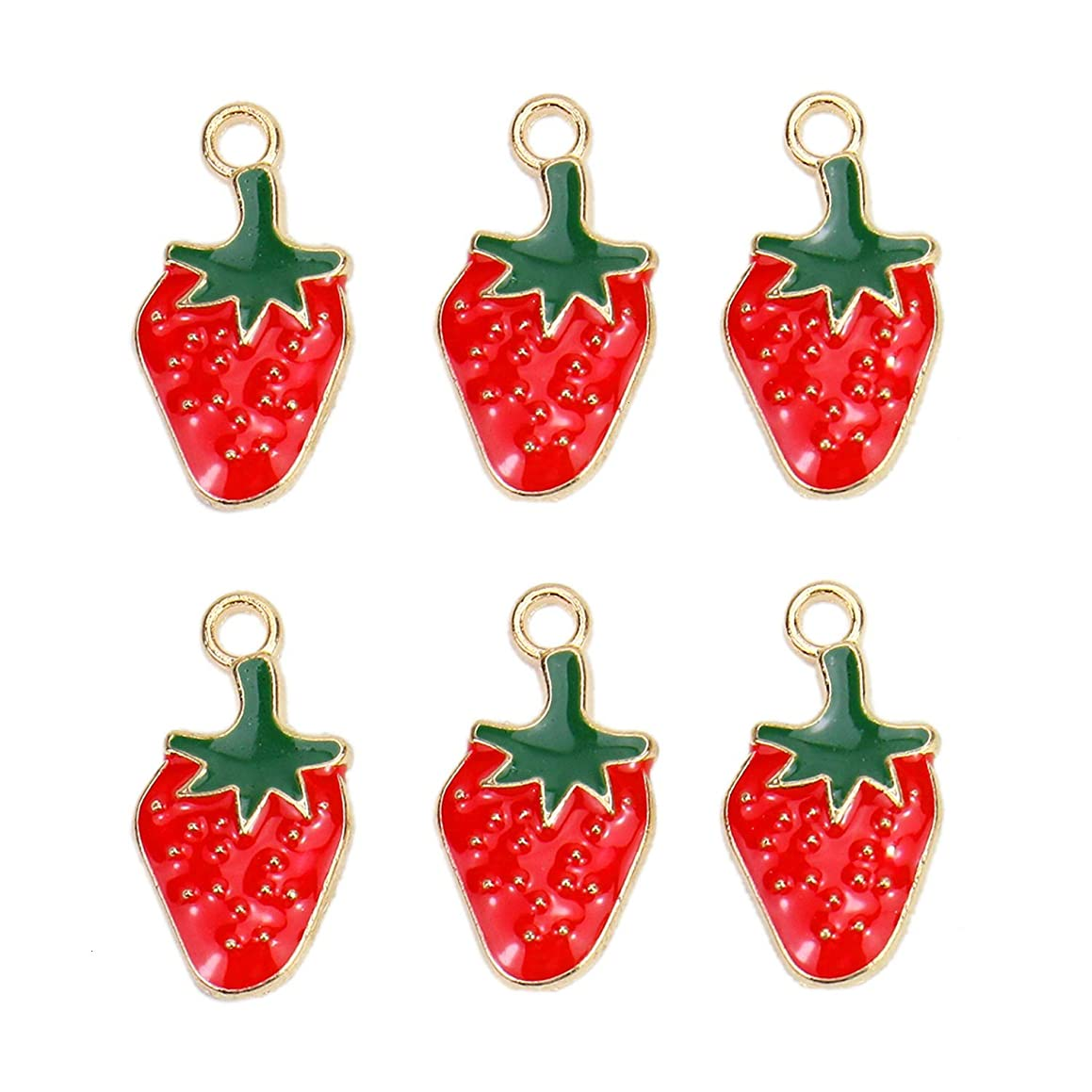 Monrocco 30Pcs Enamel Strawberry Charm Fruit Charms Pendant for Jewelry Making Bracelet Necklace