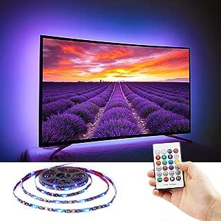TV USB Bias Lighting for 70 75 80 82 Inch HDTV, TV LED Backlight, Behind TV Ambient Accent Theater Lighting Reduce Eye Strain, Full Sides of TV, No Dark Spot, RF Remote, S Shape LED Strip Light