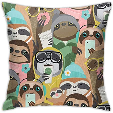 Sloth Throw Pillow Covers Decorative By Hgod Designs Follow Your Dreams Throw Pillow Cute Baby Sloth On The Tree Cotton Linen Square Pillow Case For Men Women 18x18 Inch Black Gray Home