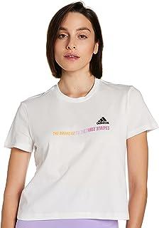 تي شيرت جرادينت بتصميم مقصوص قصير وشعار مطبوع للنساء من اديداس