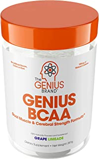Genius BCAA Powder – Nootropic Amino Acids & Muscle Recovery Drink | Natural Vegan Energy BCAAs for Women & Men (Pre, Intra & Post Workout) | Natural Brain Boost & Focus Supplement, Grape Limeade,287