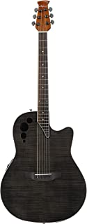 Ovation Applause Guitarra Electro-Acústica Mid Cutaway transparent black flame AE44IIP-TBKF