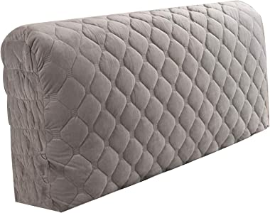 Cloth Quilted All Inclusive Headboard Cover Solid Wood Bed Head Backrest Gray 150x60cm