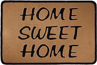 Pensura Doormat Outdoor Indoor Welcome Mat Print Brown Sweet Home Door Mat Non Slip Kitchen Carpet Rectangle 23.6x15.7 Inch